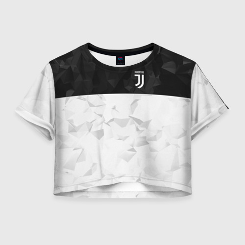 Женская футболка Crop-top 3D Juventus 2018 Black and White