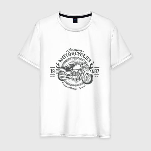 Мужская футболка хлопок Винтажный мотоцикл 2