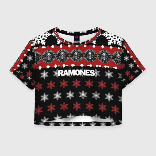 Женская футболка Crop-top 3D Праздничный Ramones