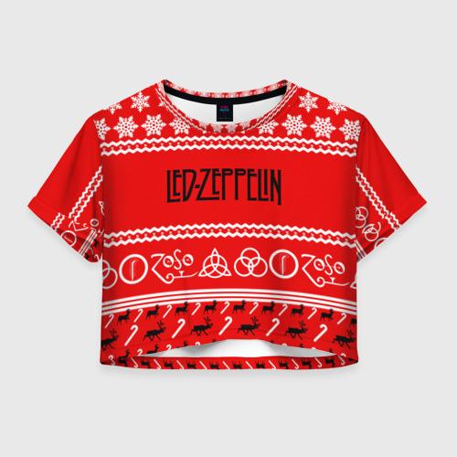 Женская футболка Crop-top 3D Праздничный Led Zeppelin