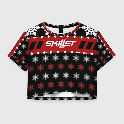 Женская футболка Crop-top 3D Праздничный Skillet