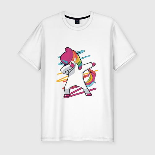 Мужская футболка хлопок Slim Единорог радуга