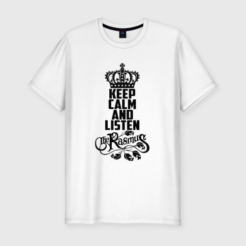 Мужская футболка хлопок Slim Keep calm and listen Rasmus