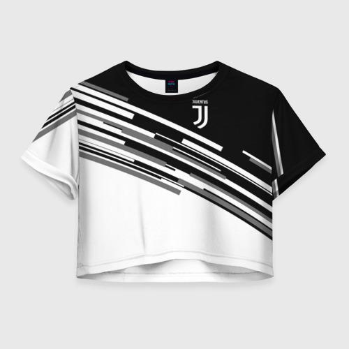 Женская футболка Crop-top 3D JUVENTUS STRIPES STYLE