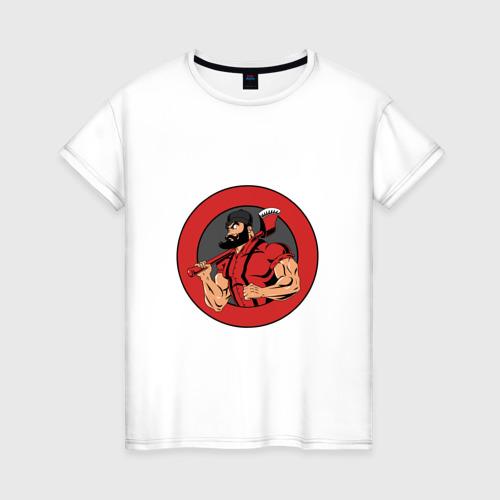 Женская футболка хлопок Дровосек БРУТАЛ BLACKBARBERS