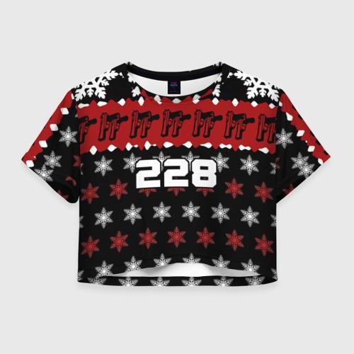 Женская футболка Crop-top 3D Праздничный 228