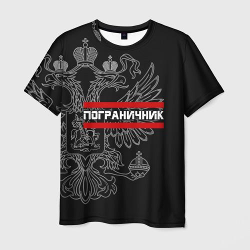Мужская футболка 3D Пограничник белый герб РФ