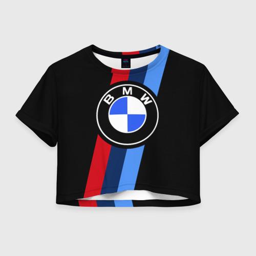 Женская футболка Crop-top 3D BMW 2021 M SPORT / БМВ М СПОРТ