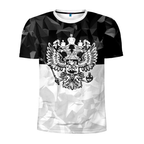 Мужская футболка 3D спортивная RUSSIA BLACK X WHITE | РОССИЯ