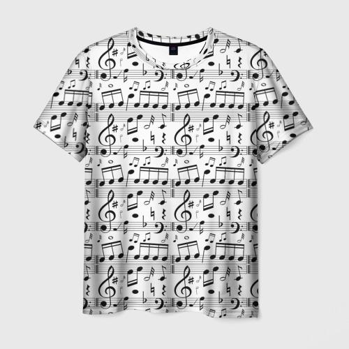Мужская футболка 3D Нотный стан