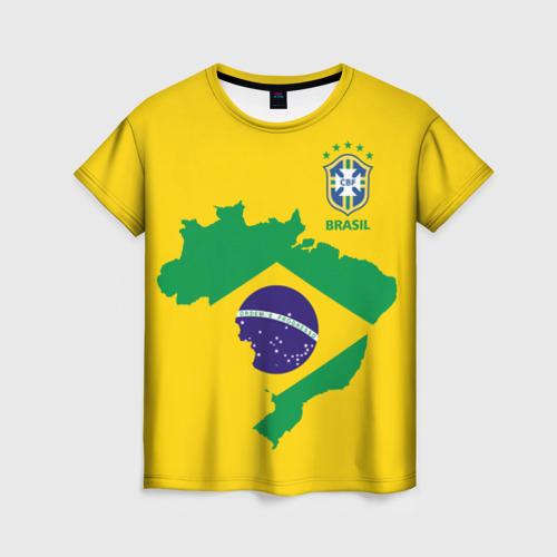 Женская футболка 3D Бразилия, форма