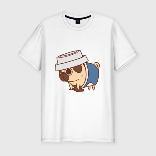 Мужская футболка хлопок Slim мопс-кофе
