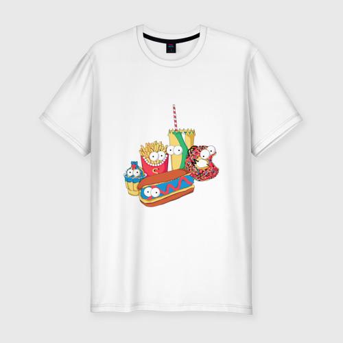 Мужская футболка хлопок Slim Вкусные Симпсоны