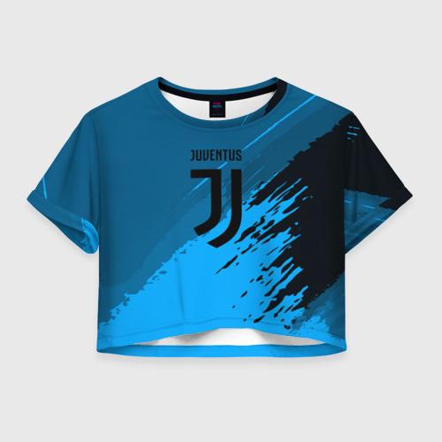 Женская футболка Crop-top 3D FC Juventus abstract style
