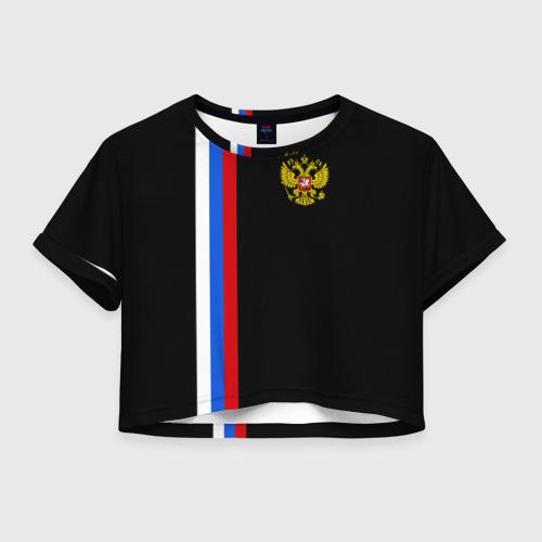 Женская футболка Crop-top 3D России / Line Collection