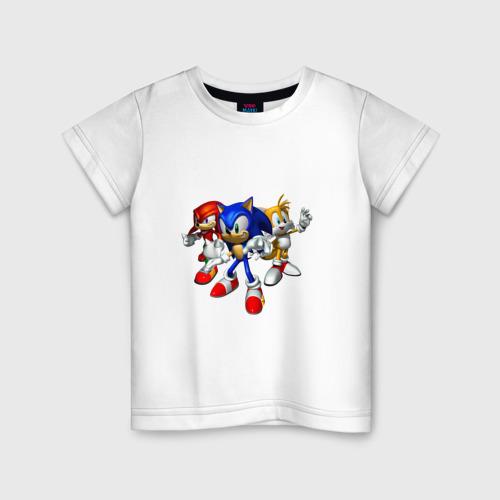 Детская футболка хлопок Sonic, Tails & Knuckles