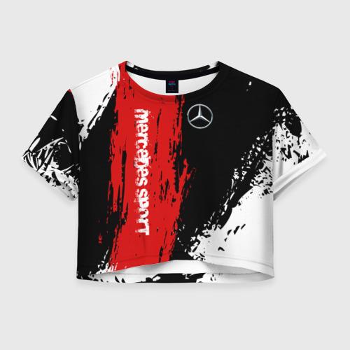 Женская футболка Crop-top 3D MERCEDES-BENZ AMG   МЕРСЕДЕС СПОРТ