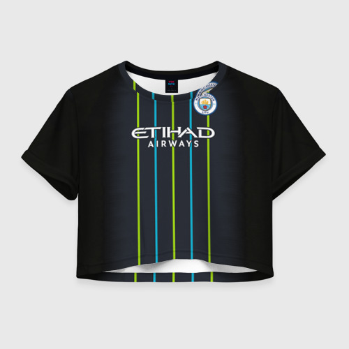 Женская футболка Crop-top 3D Man City Форма Гостевая 18/19