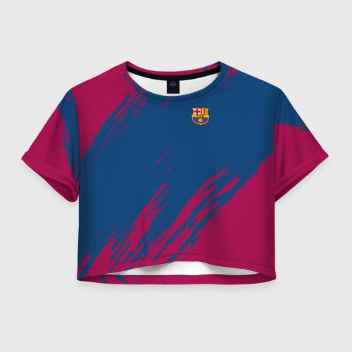 Женская футболка Crop-top 3D FC BARCELONA (BARCA) | ФК БАРСЕЛОНА