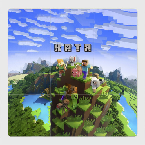 Магнитный плакат 3Х3 Катя - Minecraft