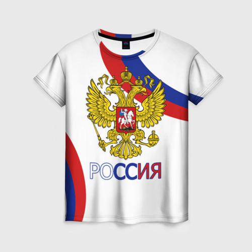 Женская футболка 3D Россия Триколор