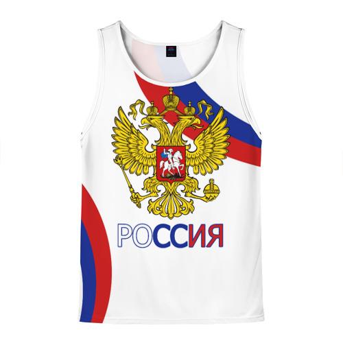 Мужская майка 3D Россия Триколор