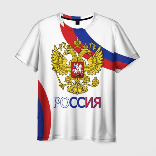 Мужская футболка 3D Россия Триколор