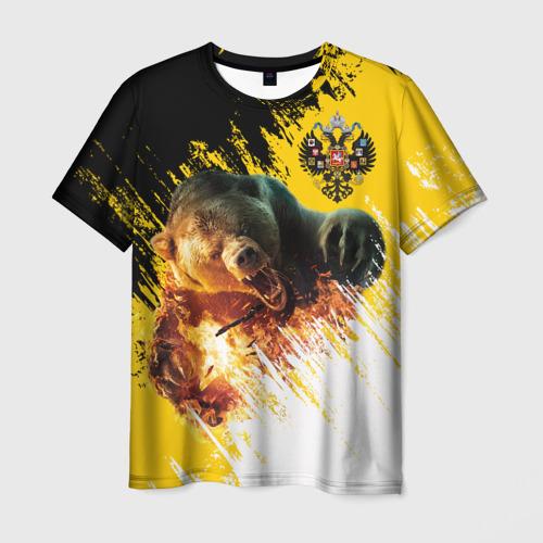 Мужская футболка 3D Имперский флаг и медведь