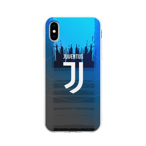 Чехол для iPhone X матовый FC Juventus color sport