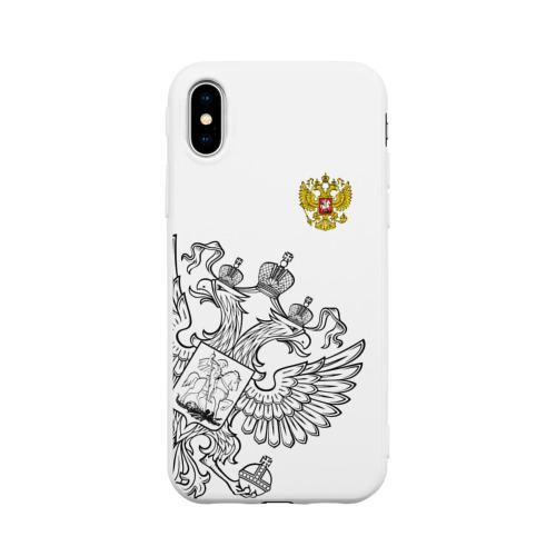 Чехол для iPhone X матовый Герб РФ White