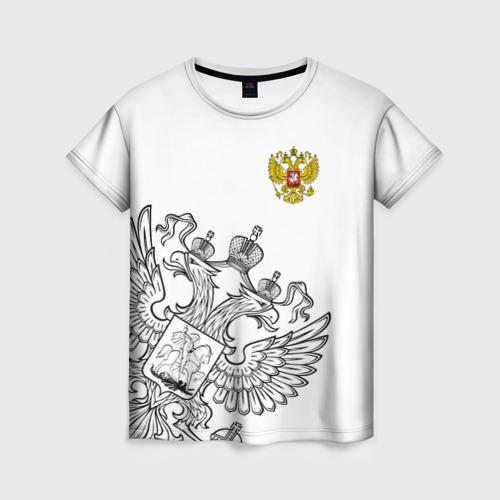 Женская футболка 3D Герб РФ White