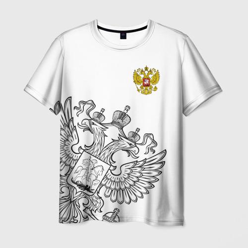 Мужская футболка 3D Герб РФ White