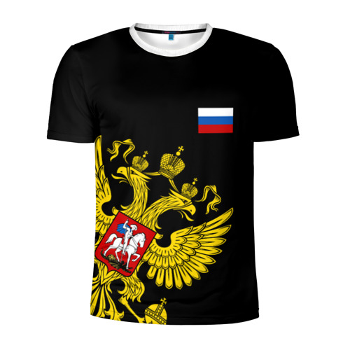 Мужская футболка 3D спортивная Флаг и Герб  России