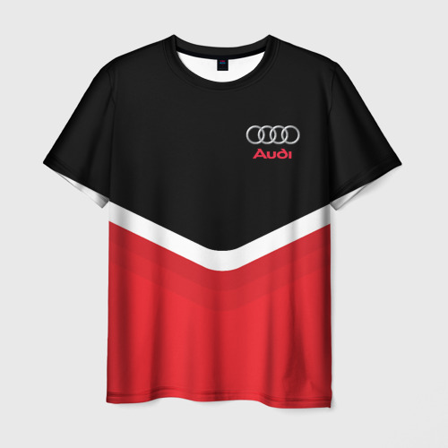 Мужская футболка 3D Audi Black & Red