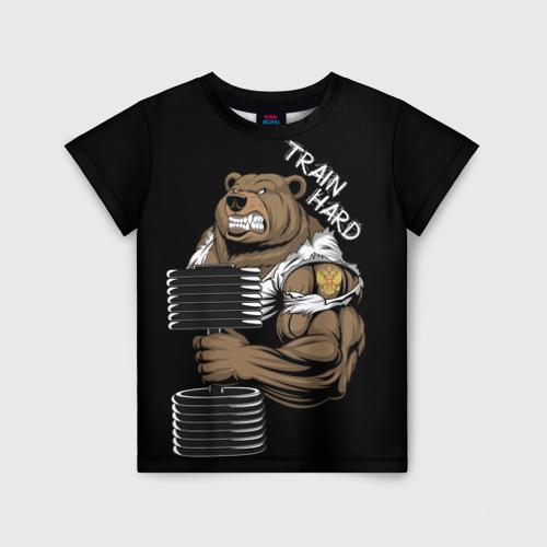 Детская футболка 3D Train hard