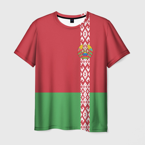Мужская футболка 3D Белоруссия, лента с гербом