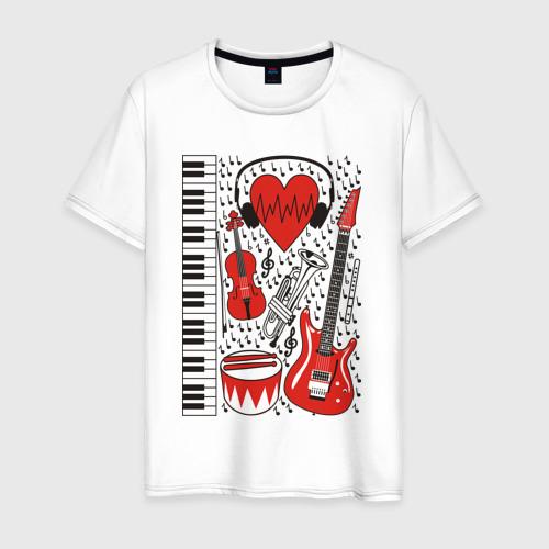 Мужская футболка хлопок Музыкальное сердце