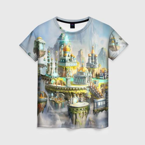 Женская футболка 3D Город в небе