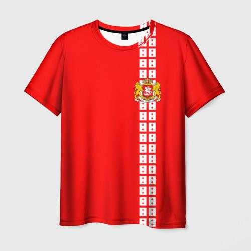 Мужская футболка 3D Грузия, лента с гербом
