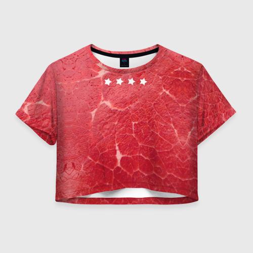 Женская футболка Crop-top 3D Мясо 100%