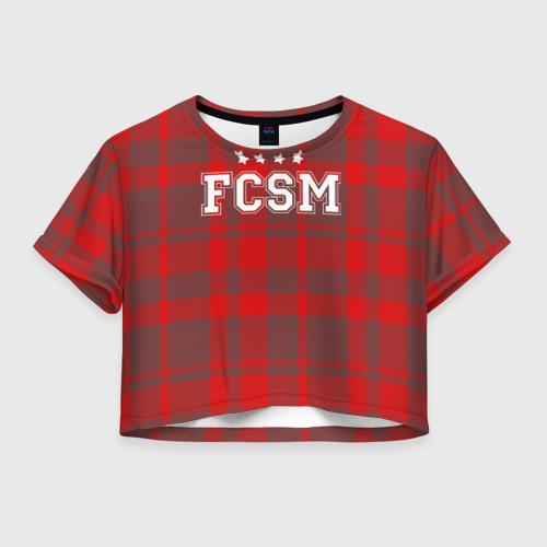 Женская футболка Crop-top 3D Футбольная клетка
