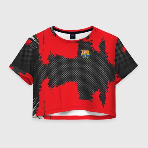 Женская футболка Crop-top 3D BARCELONA SPORT RED