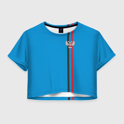 Женская футболка Crop-top 3D ДНР, лента с гербом