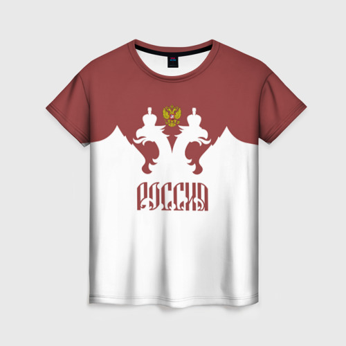 Женская футболка 3D Россия, двуглавый орел