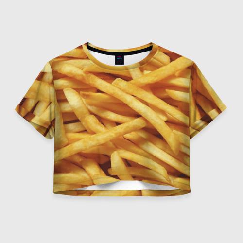 Женская футболка Crop-top 3D Картошка фри