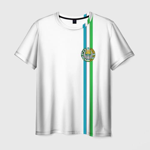 Мужская футболка 3D Узбекистан, лента с гербом