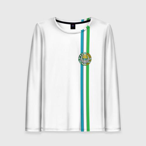 Женский лонгслив 3D Узбекистан, лента с гербом