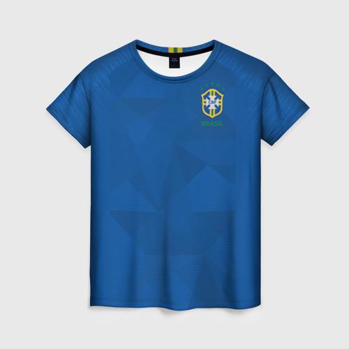 Женская футболка 3D Бразилия 2018 гостевая