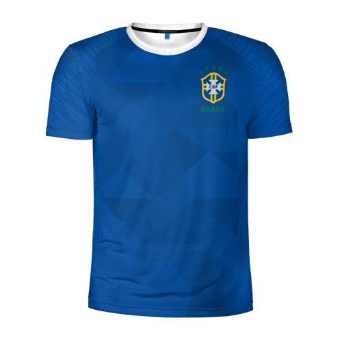 Мужская футболка 3D спортивная Бразилия 2018 гостевая