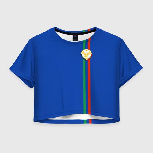 Женская футболка Crop-top 3D Дагестан, лента с гербом
